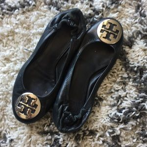 Black Tory Burch flats with silver